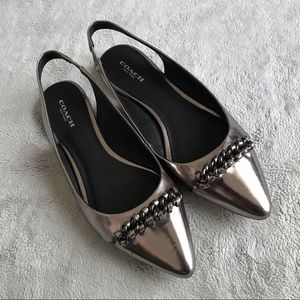 Coach Rodney Silver Chain Pointed Toe Flat Shoe 7